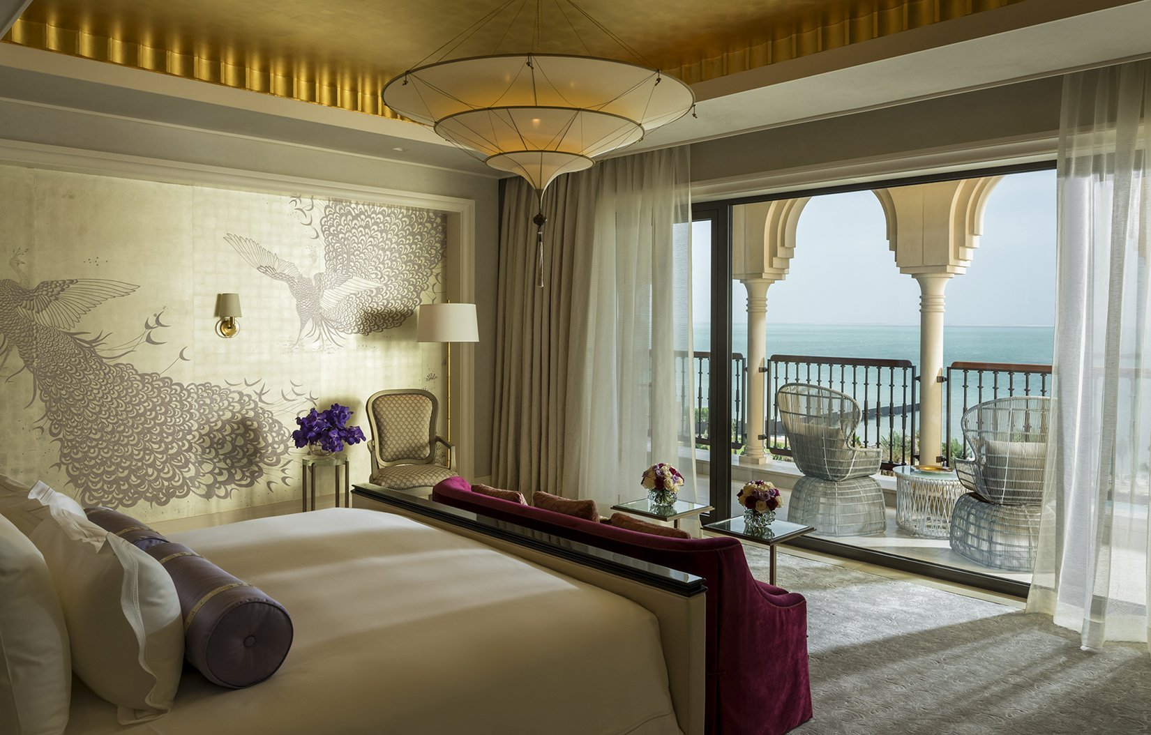 1.-Royal-Suite-at-Four-Seasons-Hotel--Jumeirah-Beach--Dubai.--Whistler-Peacocks--design-in-custom-colourway-on-12-Carat-White-Gold-gilded-silk-yeet-magazine