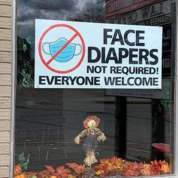 "Florida restaurant goes viral for 'face diapers not required' sign""As far as I'm concerned, we won't require masks ever unless it's required by the county,"" the restaurant owner said."